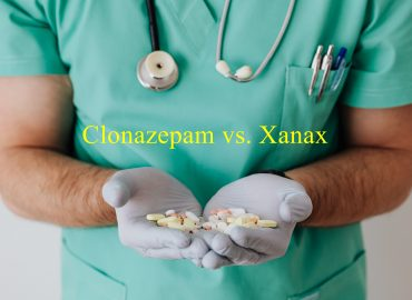 doctor holding medications and showing difference clonazepam(klonopin) vs. Xanax